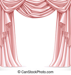 Big pink curtain draped with lambrequins isolated on a white...