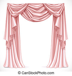 Pink curtain draped with pelmet isolated on a white background