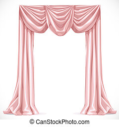 Pink curtain isolated on a white background 1
