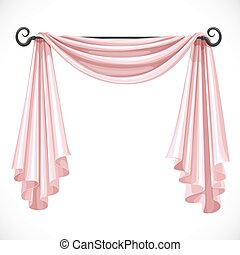 Pink curtains on the ledge forged isolated on a white...