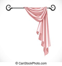 Pink drapery hanging on forged cornice isolated on a white...