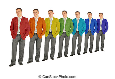 business people with rainbow color coat collage