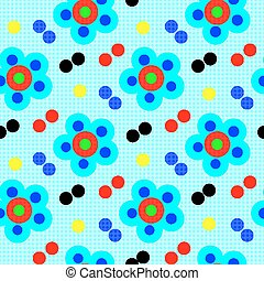 abstract psychedelic flowers on blue background seamless pattern vector illustration