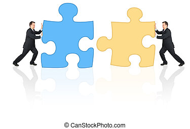 businessmen connecting puzzles collage