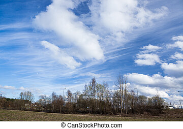Long cirrus clouds skyscape panorama