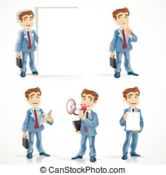 Big set of cute businessman in different business situations, five options