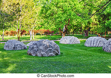 Freakish stones in a park near of the complex Temple of...
