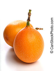 Granadilla - Sweet granadilla fruit on a white background