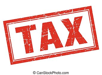 tax red square grunge stamp on white