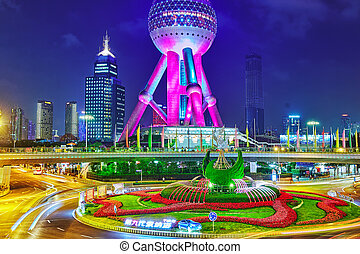SHANGHAI, CHINA -MAY 24, 2015. Oriental Pearl Tower at the...