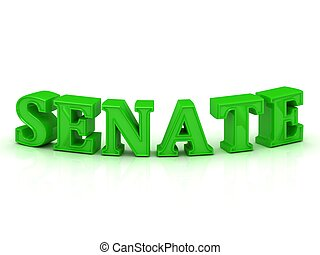 SENATE - bright green letters on a white background