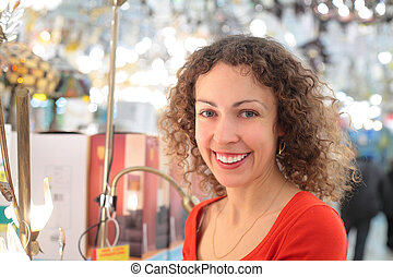 young woman in shop of house technics