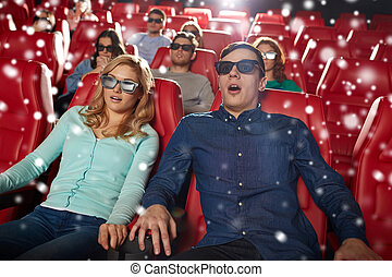 scared friends watching horror movie in 3d theater