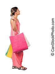 espalda, vista, de, yendo, mujer, con, compras, Bolsas, .,...