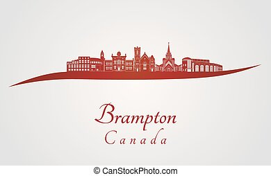 Brampton skyline in red and gray background in editable...