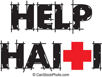 Help Haiti Text - Vector Illustration to Help Haiti with Red...