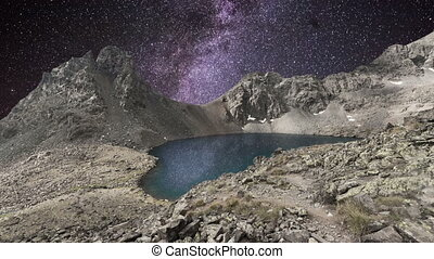 Milky way time lapse over mountain lake in Rocky Mountains....