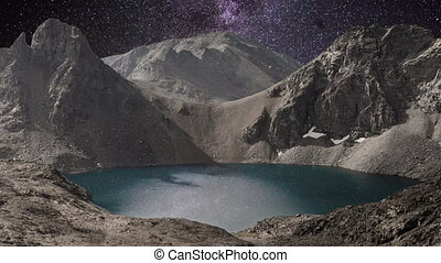 Milky way time lapse over mountain lake in Rocky Mountains...