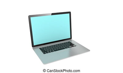 isolated laptop with  blue screen, 3 animation set