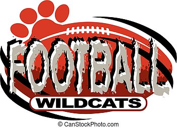 wildcats football team design with ball and paw print