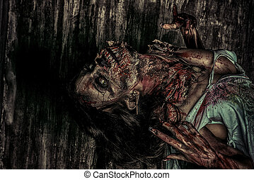 demonic - Furious bloody zombie girl. Horror. Halloween.