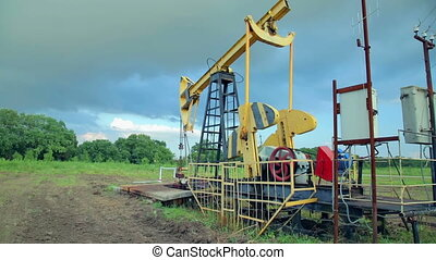 Working oil pumps. oil industry equipment