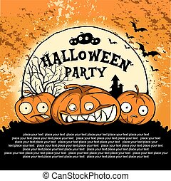 cute pumpkin poster - Halloween Party Design template, with...
