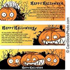 set of flyers to Halloween Party - Halloween Party Design...