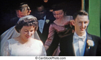 1942: Bride and Groom exiting - Original vintage 8mm film...