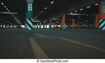 Underground parking - Underground mall parking  with cars