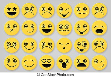 Yellow smiley icon sets - Vector Illustration Of Yellow...