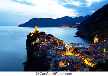 Illuminated Vernazza Village at Dusk, Cinque Terre, Italy