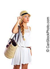 Blond tourist girl summer  beach white dress