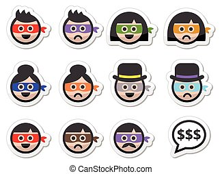 Thief man and woman faces in masks - Color vector icons set...