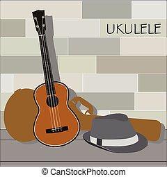 ukulele and Panama hat