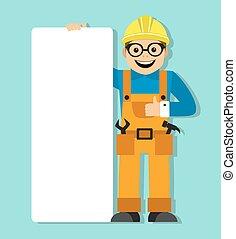 worker in helmet holding a blank po