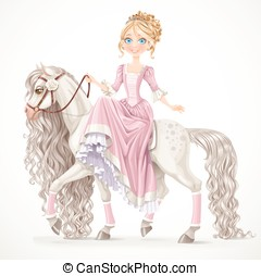 Cute princess on a white horse with a long mane isolated on a white background