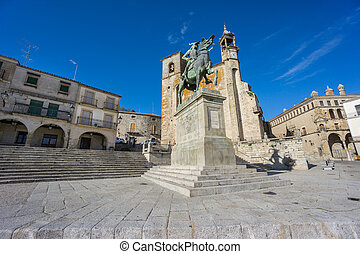 Wide view of Plaza Mayor at Trujillo Spain - The old center...