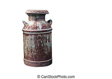 rusty milk can isolated with clipping path - vintage rusty...