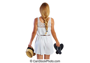 Blond tourist girl with flip flop shoes white dress - Blond...