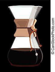 Brewing Coffee on Black Background - Coffee Maker with...
