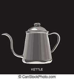 Coffee Kettle on Black Background