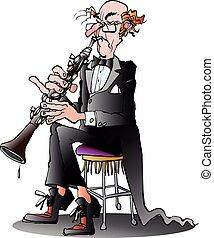 clásico, clarinete, jugador,