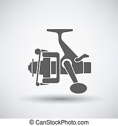 Fishing Reel Icon - Fishing icon with reel over gray...