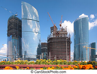 Building of skyscrapers in Moscow