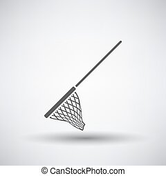 Fishing Net Icon - Fishing icon with net over gray...