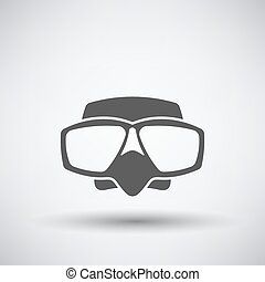 Scuba Mask Icon - Fishing icon with scuba mask over gray...