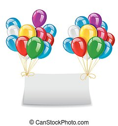 Flying balloons with paper and plac - Vector Illustration Of...