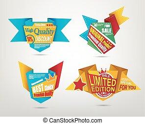 Origami design label set