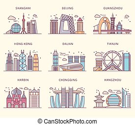 Icons Chinese Major Cities Flat Style - Icons Chinese major...